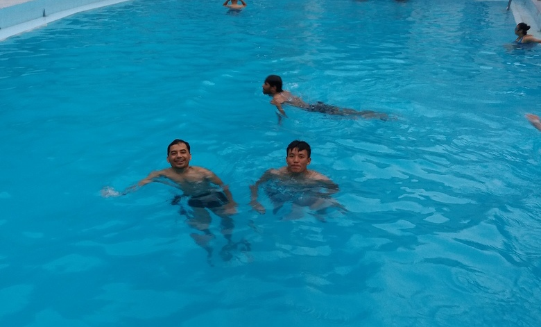 Enjoying the pool at the hotel in Nepalgunj