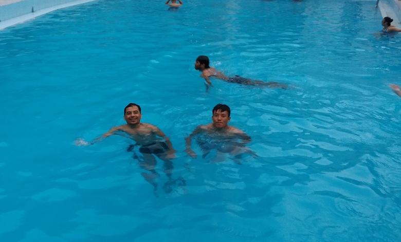 Enjoying the pool at the hotel in Nepalgunj